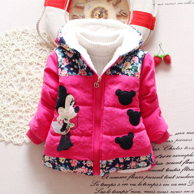 Hot Sale 2015 Winter Baby Girls Coats Kids Minnie Jackets Fashion Hooded Children Outdoor Parka Warm Flowers Cotton-padded Coats женская утепленная куртка shang feier 4055 2014women winter cotton padded jackets coats slim parka