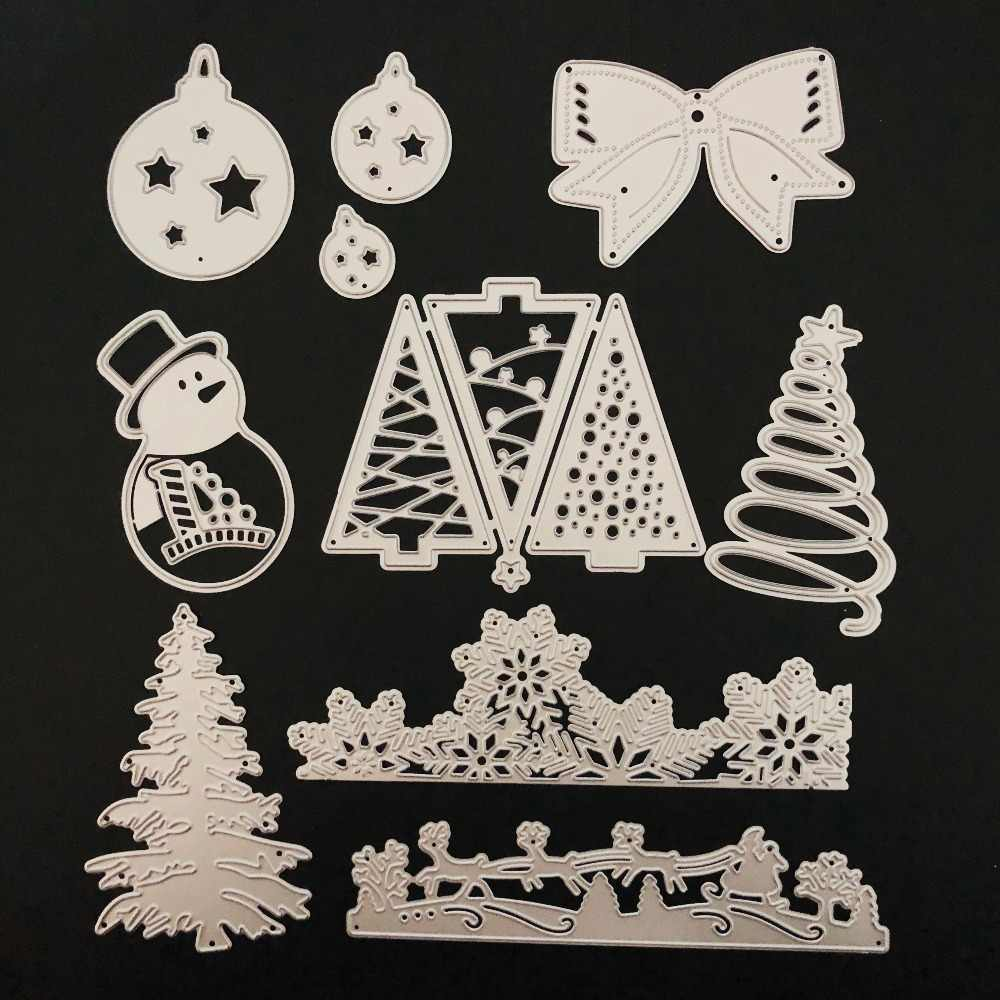 FEESTIGO 1 PCS Stanzschablonen Die Cuts Card Making Scrapbooking Template Punch Christmas Ball Snowman Xmas Tree Cutting Dies