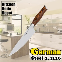 8″ Chef Knife Kitchen Blade German Steel 1.4116 Pakkawood Handle Stainless Steel Sharp Edge Chopping Slicing Meat Vegetable