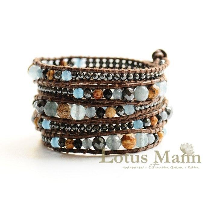 Bracelet en cuir avec cordon réglable en lotus sur cuir