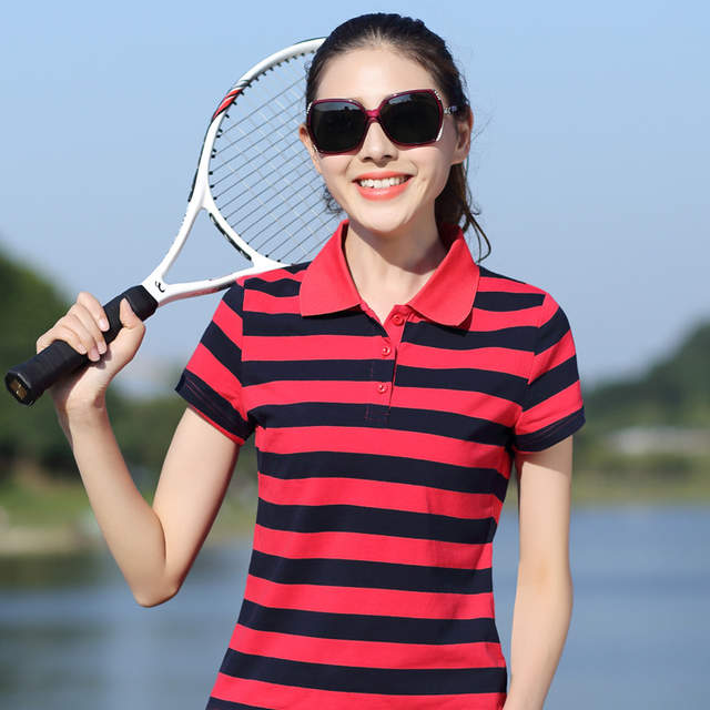 2018 Fashion Striped Short Sleeved T shirt Female Spring Summer Plus Size  Thin Loose Casual Tops Turn Down Collar Women T Shirts-in T-Shirts from