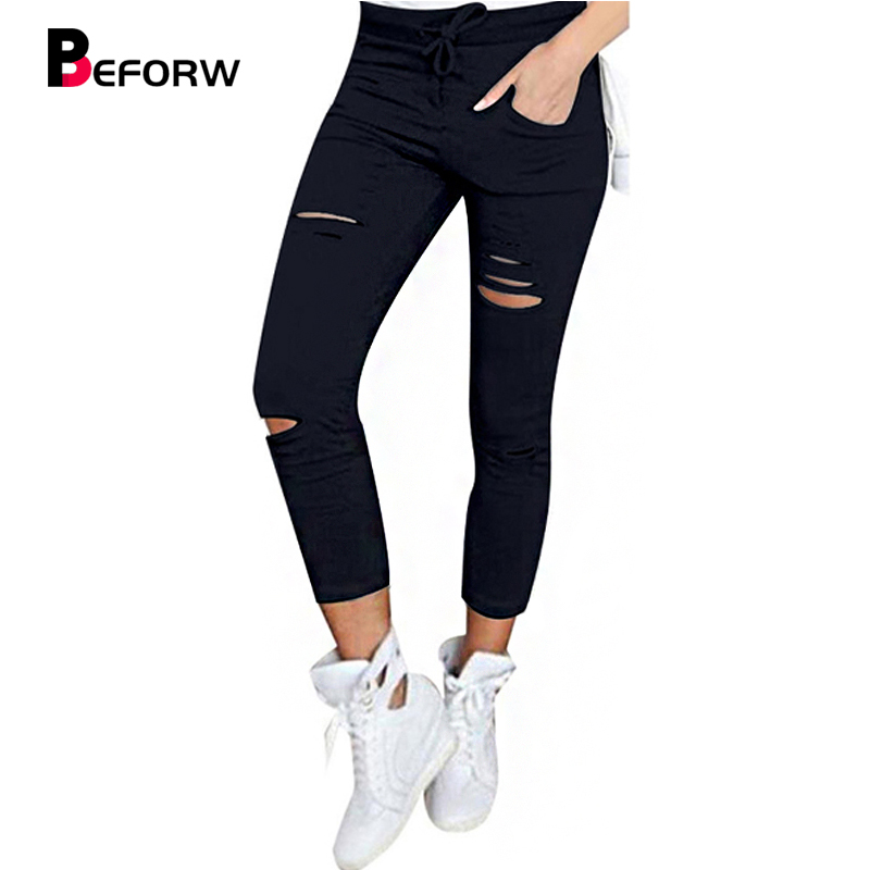 BEFORW Skinny Pant Women Sexy Holes Knee Pencil Pant Summer Female High Waist Casual Trouser Stretch Ripped Jeans Plus Size