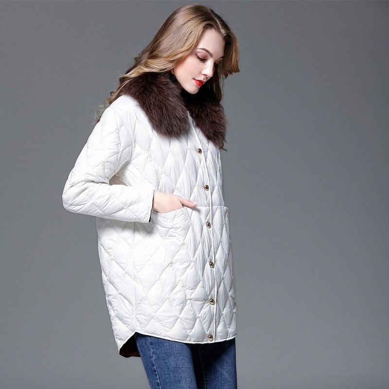 Color Noir Avec Fourrure blanc Femmes De caramel Lâche Doudounes Renard Mode OCPHwq1