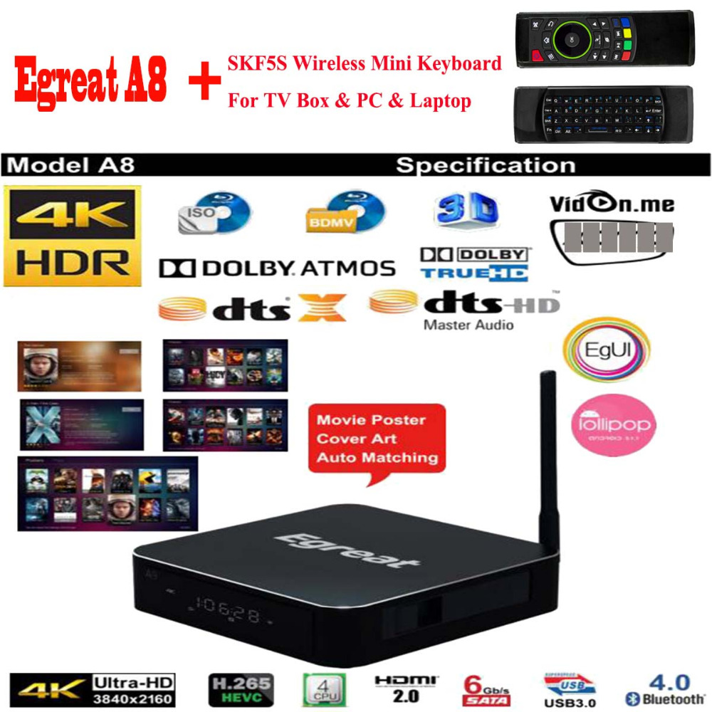 Egreat A8 UHD Media Player 2GB 8GB 3D 4K Bluetooth 4.0 Android Smart TV Box Support HDD SATA USB3.0 Dolby Ture HD DTS HD DTS:X