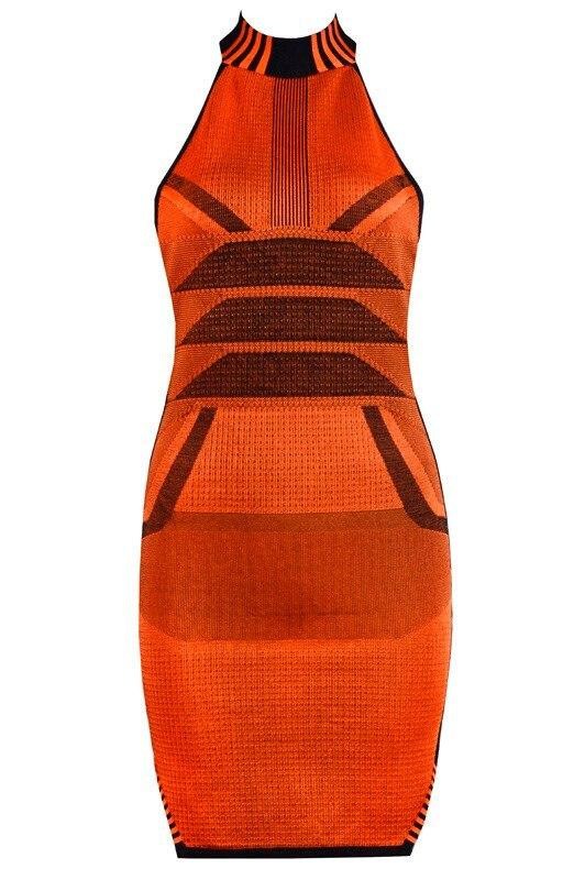 Orange 209 Tricoté Qualité Bandage 2018 Robe Supérieure Femmes Sexy L Designer Élégant Dos Nu nz0HOrzwqx