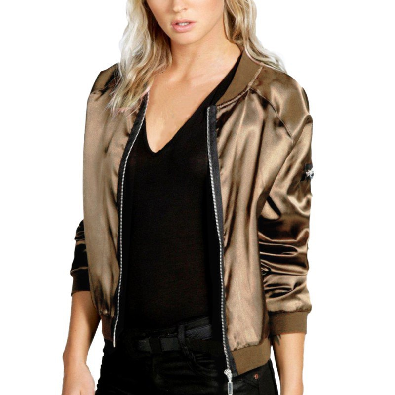 Sexy Black Silver Zipper Satin Bomber Jacket Women Basic Coats Ladies Spring Autumn Coat Top Long Sleeve Wrap Surcoat Outwear