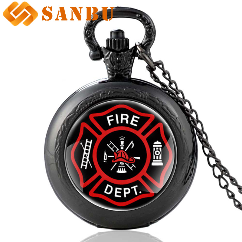 Vintage United States Fire Fighters Control Glass Cabochon Quartz Pocket Watch Black Necklace Pendant Watches
