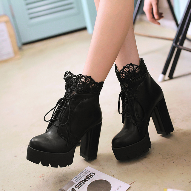Women Lacing Platform Boots High Heels