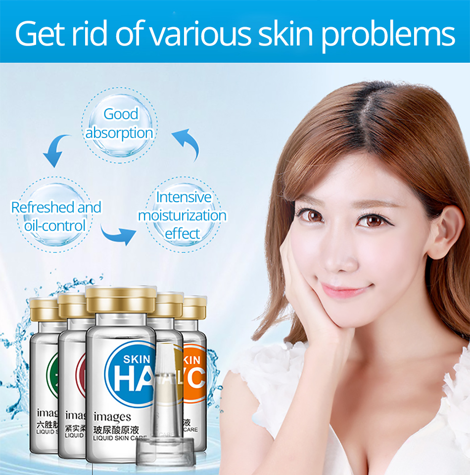 IMAGES 5pcs Hyaluronic acid+Snail Serum+Vitamin C+collagen+Tight soft liquid Essence Anti Aging whitening Anti Wrinkle Skin Care