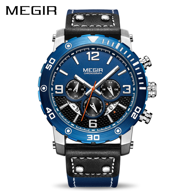 Creative MEGIR Chronograph Sport Men Watch Leather Strap Army Military Wrist Watches Clock Men Relogio Masculino Quartz Watch цена
