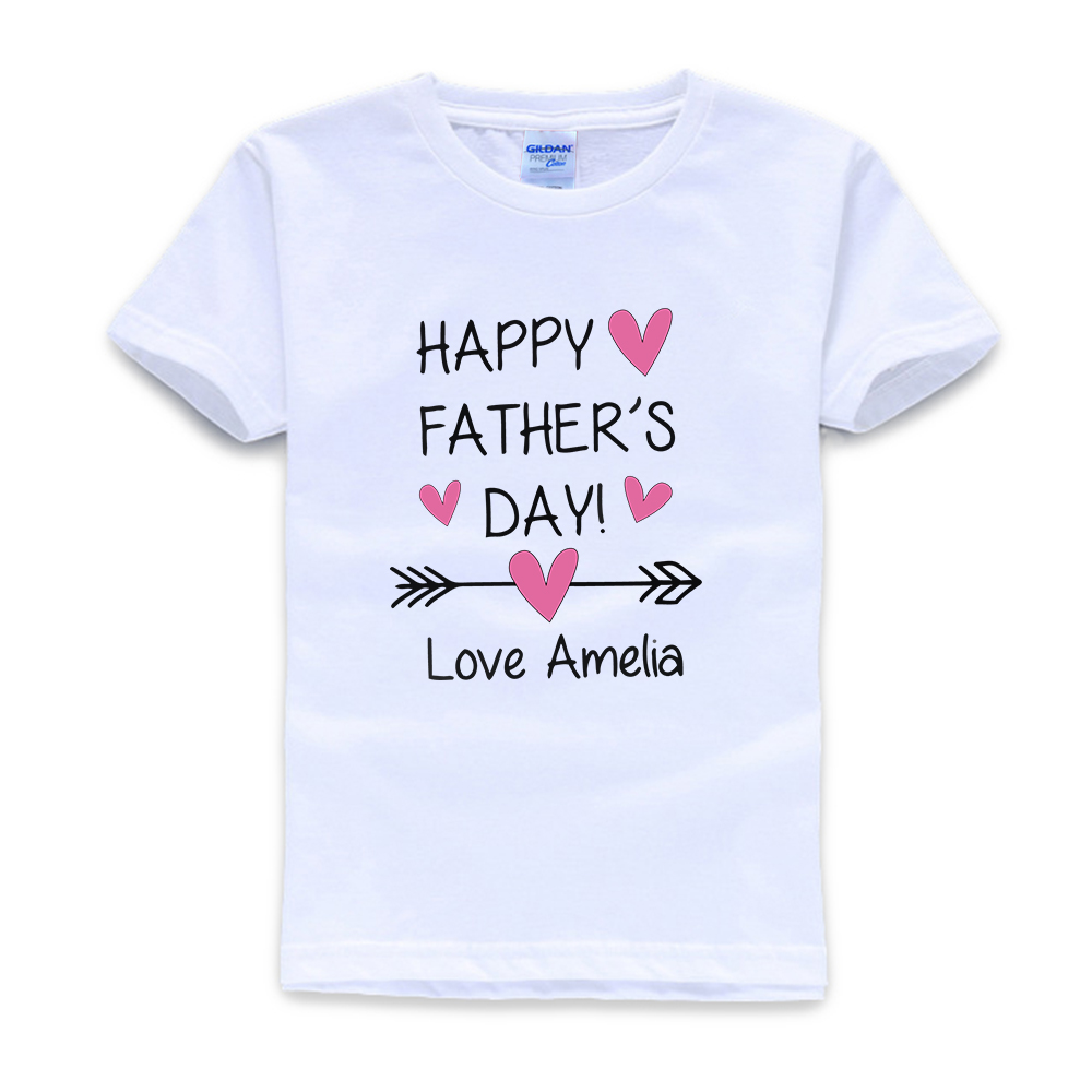 Personalised Happy Father's Day Girls Kids T-Shirt, Childrens Toddlers T Shirt Top Little Girls Clothing  Girls Tops