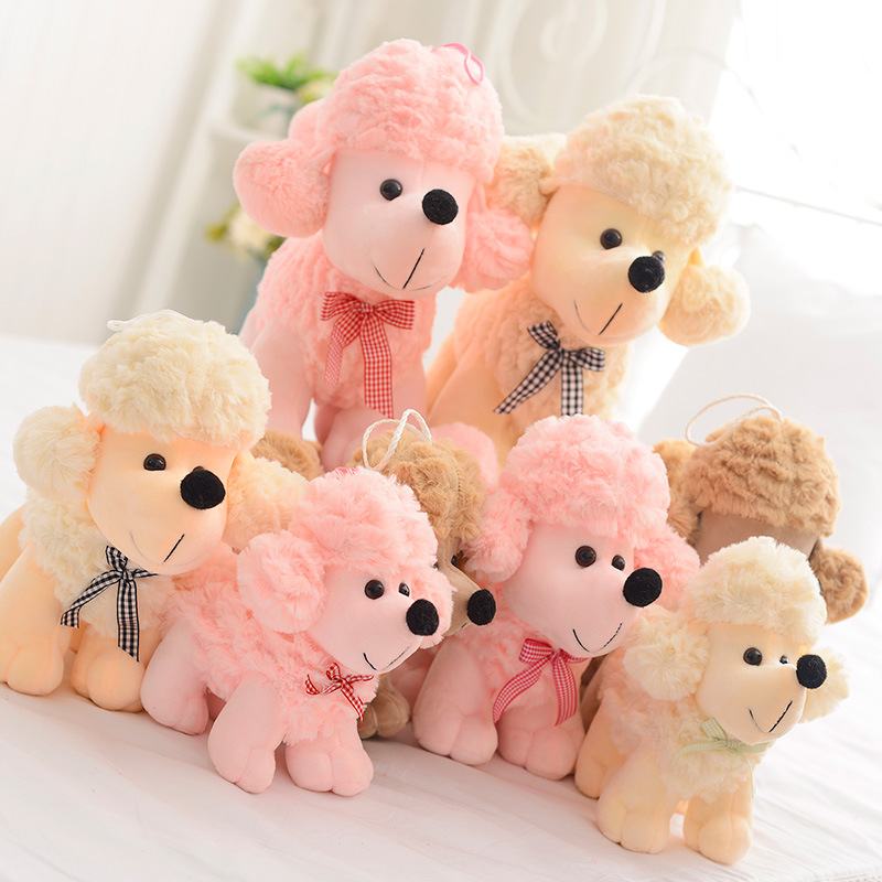 22-35cm 2 Colors Miniaturei Poodle Cute Little Mini Dog Plush Toy Birthday Stuffed Animal Puppy Doll Baby Toy Kid Pink Dog