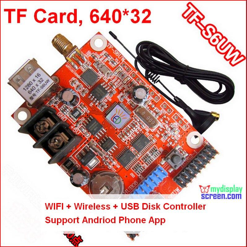 Wifi led carte de contrôle + sans fil android téléphone app, Usb support, Rs232 soutien, Contrôle 640 * 32 led monochrome panneau contrôleur
