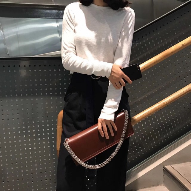 vintage style woman leather bag silver metal chains female shoulder bag elegant fashion handbag pu women day clutch purse
