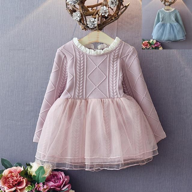 US $12.08 30% OFF|2017 neue mädchen kleid mesh & lace stricken kleid prinzessin kleid für mädchen langarm koreanische stil mädchen kleidung 2 7Y