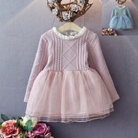 2017 New Girls Dress Mesh Lace Knit Dress Princess Dress For Girls Long Sleeve Korean Style