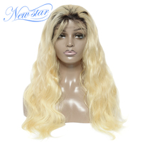 New Star T1b/613 Lace Front Wig Body Wave Bundles And 4x4 Closure Wig European Remy Human Hair Black Root Cuestomize Lace Wig