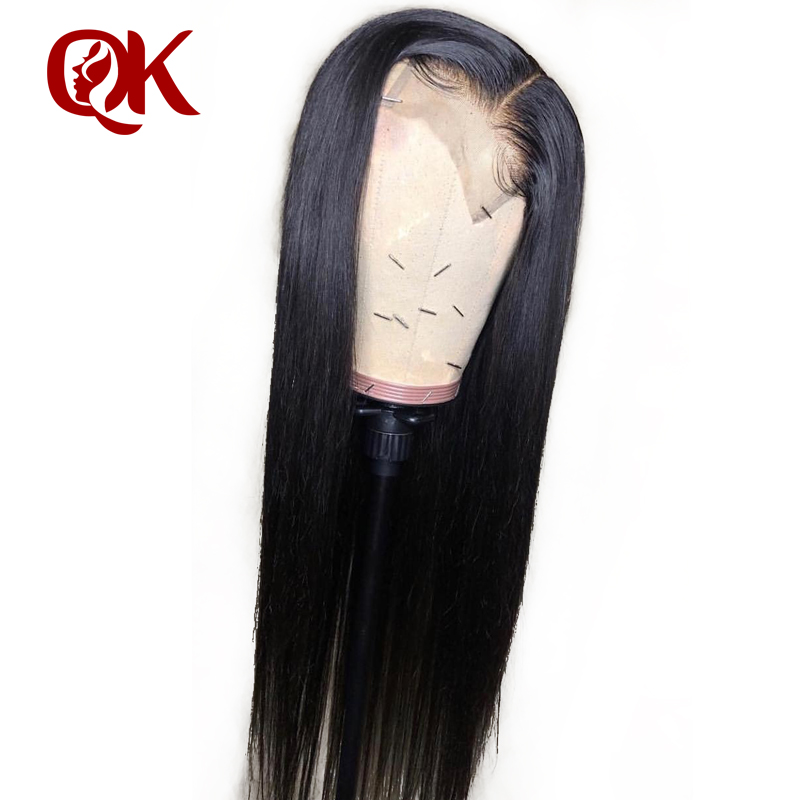 QueenKing Hair Human Hair Wigs PrePlucked For Black Women Remy Brazilian Straight Lace Front Wig With Baby Hair Bleached Knots-in Human Hair Lace Wigs from Hair Extensions & Wigs    1