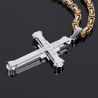Top Quality Shinning Rhinestone Men Pendant Necklace Crucifix Jewellery Fahion New 316l Stainless Steel Cheap Wholesale