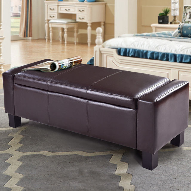 Giantex 43 Modern Storage Ottoman Pu Leather Sofa Bed Bench Footstool Living Room Organizer