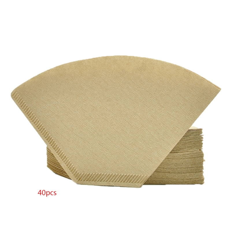 40pcs Unbleached Coffee Paper Filters Moka Pot Coffee Maker Beige