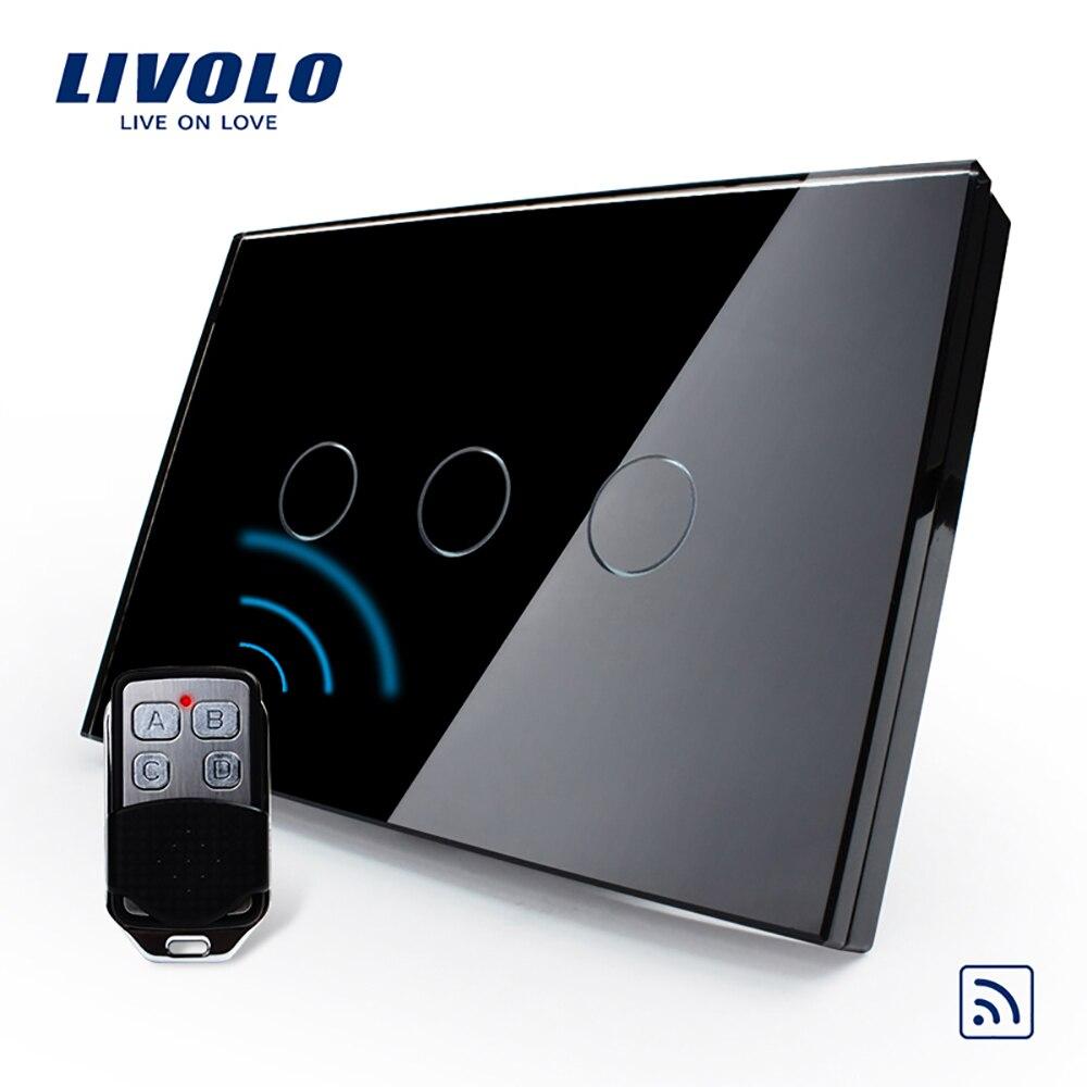 Norme Livolo US/AU, interrupteur sans fil, VL-C303R-81VL-RMT-02, interrupteur de lumière à écran tactile en verre étanche et Mini télécommande - 2