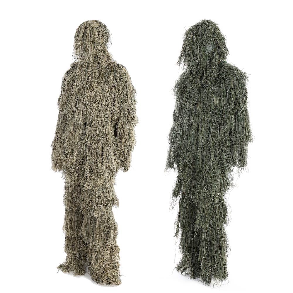3D Universal Camouflage Suits Woodland Clothes Adjustable Size Ghillie Suit For Hunting Army Military Tactical Sniper Set Kits military camouflage ghillie suit woodland grass hay style paintball leaf jungle sniper clothes hunting tactical shade clothing