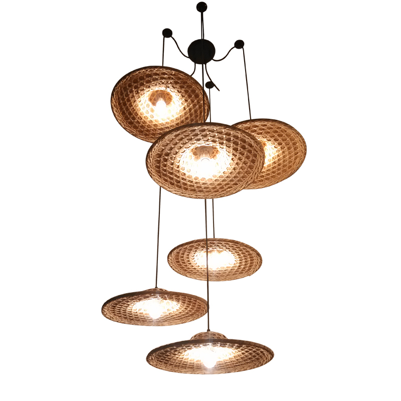 Bamboo Hat Pendant Lamps D40cm 1 3 6 Heads Hanging Lamp Simple Stairs Light Parlor Study Hotel Home Lighting Pendant Light G070