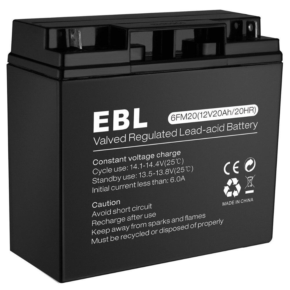 Batterie au plomb scellée Rechargeable EBL 6MF20 12 V 20Ah AGM 20Amp
