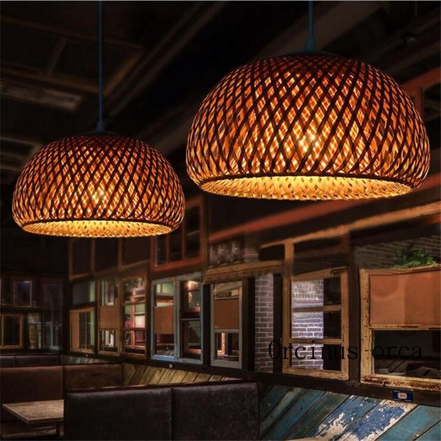 Lámpara candelabro Antigua China de mimbre, nido de bambú, lámparas LED, linternas para sala de estar, hotel y restaurante