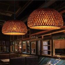קש במבוק קן קן סיני עתיק נברשת מנורת LED מנורות פנסי סלון מלון מסעדה