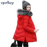 Winter Coat Women Jackets 2017 New Female Cotton Hooded Parkas Women Large Fur Collar Solid Color