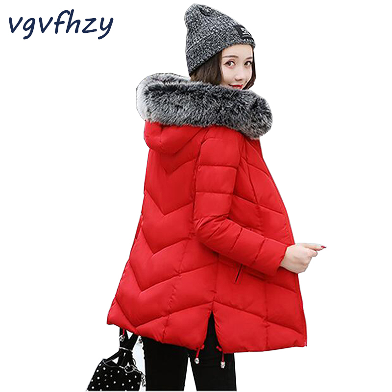 Winter Coat Women Jackets 2017 New Female Cotton Hooded Parkas Women Large Fur Collar Solid Color Plus size Warm thick Outwear thick winter jacket women 2017 new raccoon fur collar warm female parkas jackets down cotton hooded loose coat outwear bl07