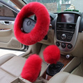 Car wheel Covers  Winter Pink Black Plush Steering Wheel Cover Woolen Car Accessory 38cm Steering-wheel Cover
