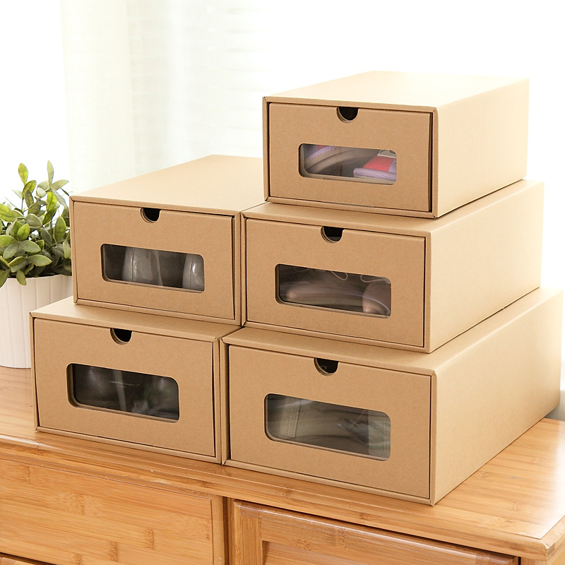 thicken kraft paper shoe boxes storage box packaging boxes for shoes 2 sizes for men and women. Black Bedroom Furniture Sets. Home Design Ideas