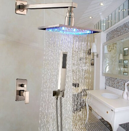 все цены на Nickel Brushed Rainfall LED Shower Faucet Wall Mounted 8