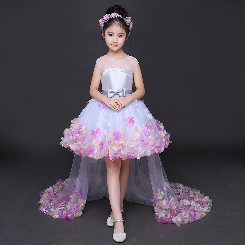 Fashion 2018 New Brief Flower Girl Dresses for Wedding Princess Dress Long Tails with Tulle Appliques