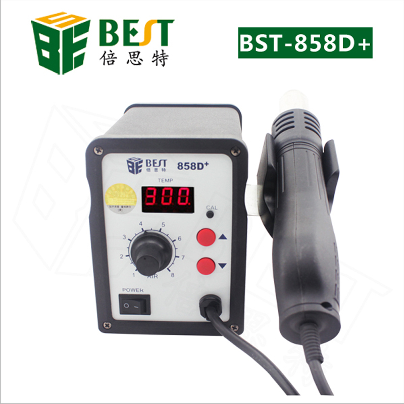 BEST-858D+ Soldering Desoldering Station Hot Air Gun SMD Rework Station with 3pcs Nozzles 650w 110v or 220v yihua 858d hot air desoldering station with 45w soldering iron air gun soldering station