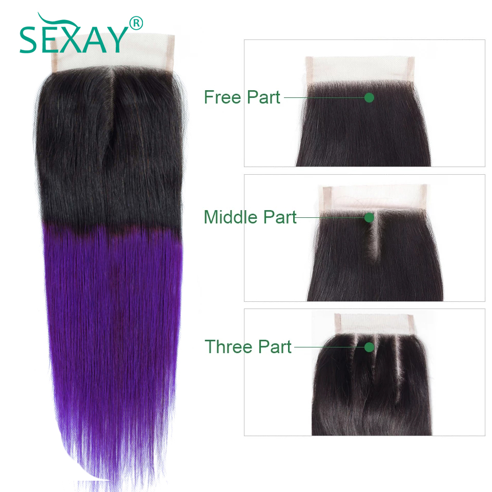 SEXAY Ombre Straight Hair Lace Closure Dark Roots Purple Hair Extension Malaysian Hair Straight Lace Closure Non Remy Hair 1 PC