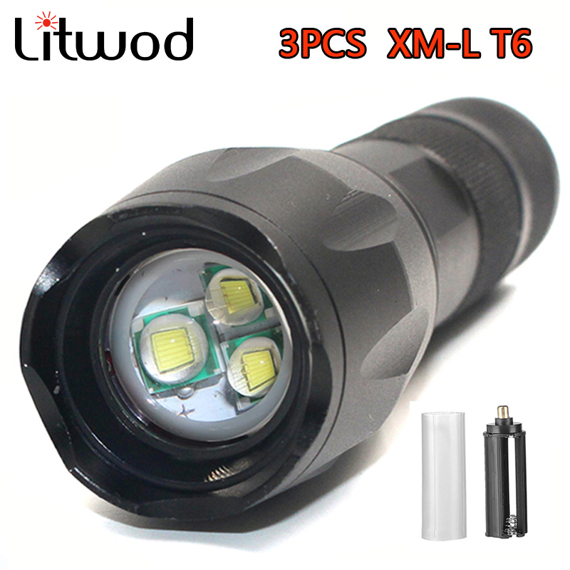 Litwod z90 3PCS XM-L T6 Aluminum Waterproof 3T6 Zoomable LED Flashlight Torch tactical light for 18650 Rechargeable Battery AAA cree xm l t6 bicycle light 6000lumens bike light 7modes torch zoomable led flashlight 18650 battery charger bicycle clip