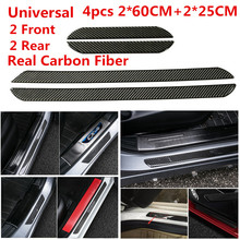 4pcs Car Door Plates Protectors 60+25CM Real Carbon Fiber Front Rear Scuff Plate Sill Cover Panel Step Protector Universal