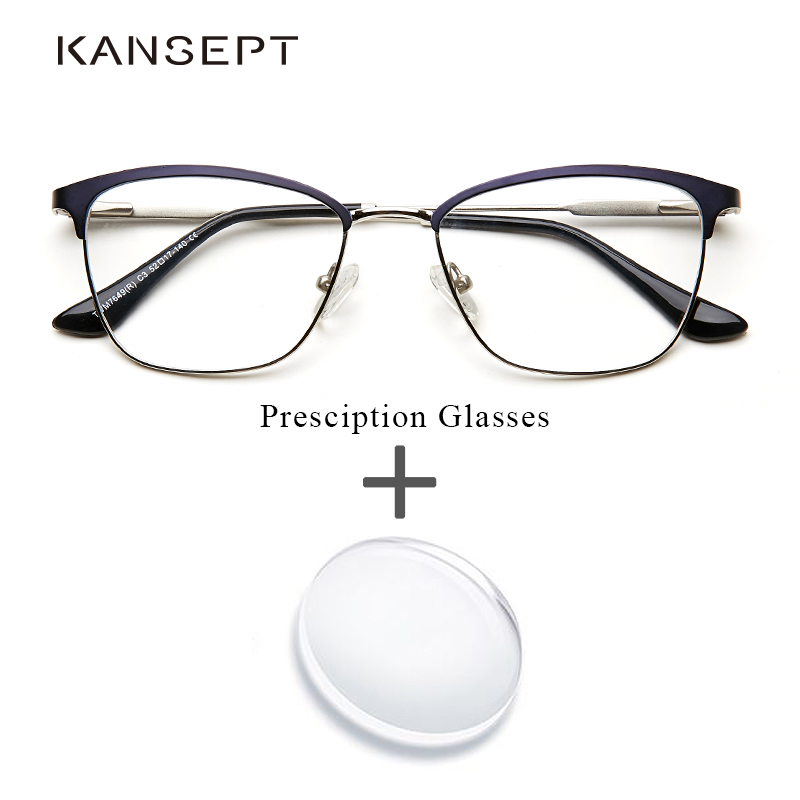 Metal Women Glasses Prescription Glasses Clear Blue frame Fashion Optical Transparent Myopia Eyeglasses For Female  #TWM7649C3