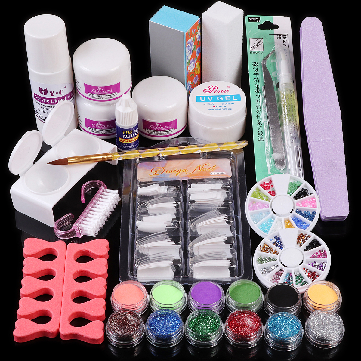 Nail Art Acrylic Powder Liquid Gel Glue Brush Tweezer Primer Rhinestones Glitter Buffer Files False Tips Manicure Tools Kit Set 48 bottles lot 5 designs mixed diy nail art decoration kit rhinestones beads sequins paillettes nail glitter powder acrylic tips