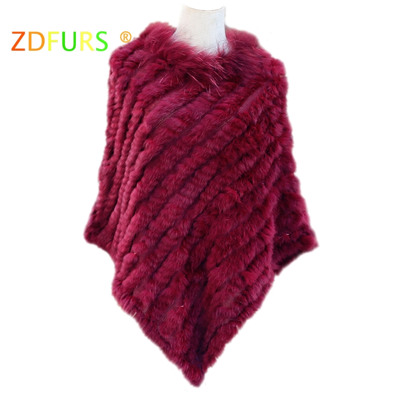 ZDFURS *knitted real rabbit fur poncho plus size raccoon fur collar trim fashion street fur style warps