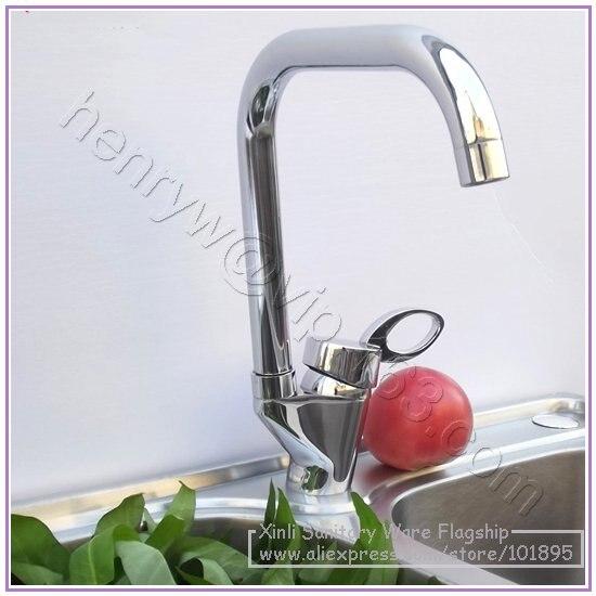 L16537-роскошный хромированный цветной латунный материал однорычажный кухонный кран - Цвет: Светло-серый