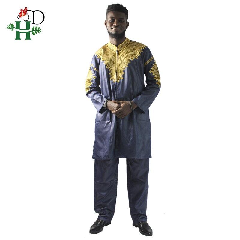 Image 2 - H&D African mens clothing traditional zipper riche africano hombres camisa con pantalones bordado camiseta pantalones dashikiafrican manafrican mens clothingmens african clothing -
