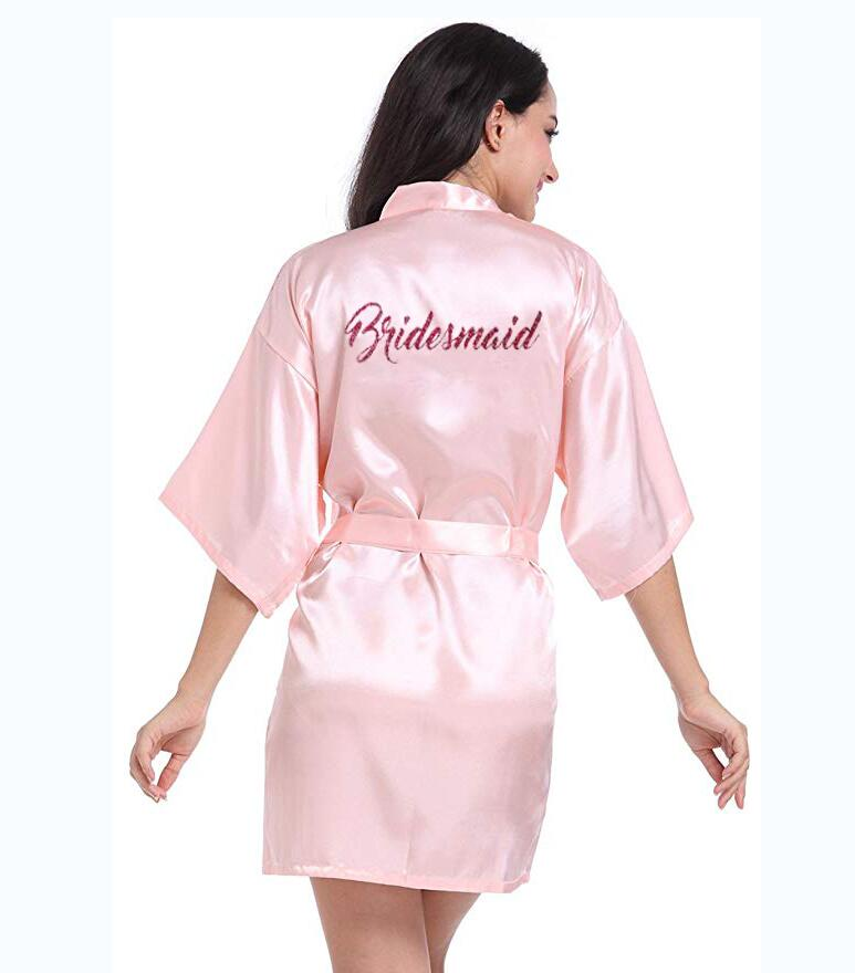 Personalised-Robe Bridesmaid Robe Silk Kimono Bath-Satin Glitter Pink Women with Hot