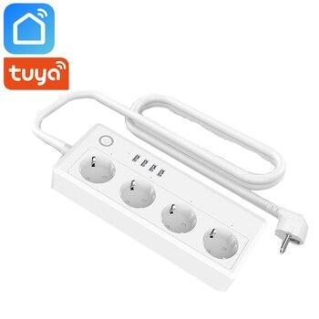 Tuya vie intelligente Wifi bande d'alimentation intelligente ue royaume-uni prise AU 4 Ports USB 4 prises contrôle indépendant fonctionne avec Alexa Google Home