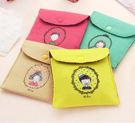 Female Hygiene Sanitary Napkins Package Small Cotton Storage Bag Purse Case cute cartoon coin purse napkins