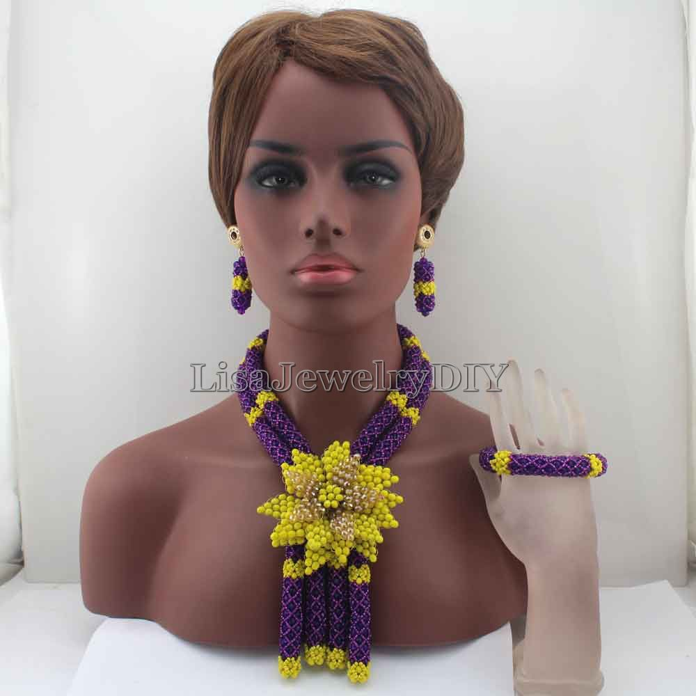 African Wedding Beads Necklace Set Costume Nigerian Beads Purple/Yellow Crystal Jewelry Set Flower Pendant Free Shipping HD7920